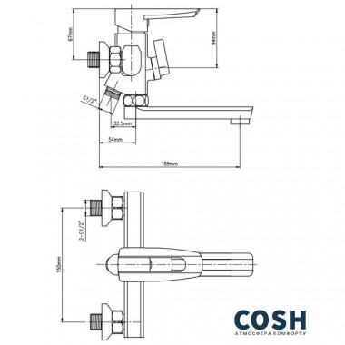 3 SD00025820 Смеситель для ванны Cosh (CRM)S-09-005BN