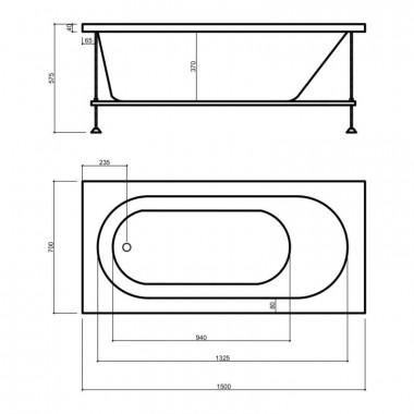 4 SD00035464 Ванна акриловая Wave Garda 15070 150х70